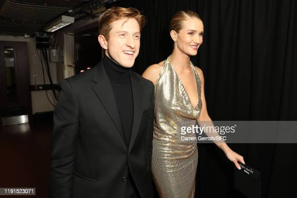 Daniel Lee and Rosie Huntington-Whiteley backstage stage during The Fashion Awards 2019 held at Royal Albert Hall on December 02, 2019 in London,...