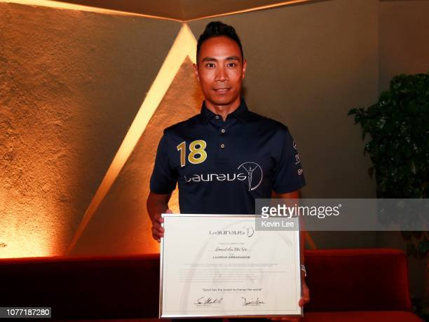 Daniel Lee Chi Woh poses with the certificate before the Laureus Hong Kong Ambassador Announcement ceremony at Mercedes Me Store on December 04 2018...