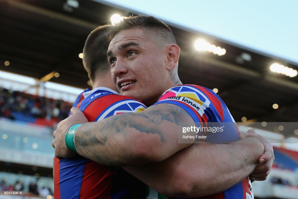 Daniel Levi of the Knights celebrates the win during the round 21 NRL match between the Newcastle Knights and the St George Illawarra Dragons at McDonald Jones Stadium on July 29, 2017 in Newcastle, Australia.