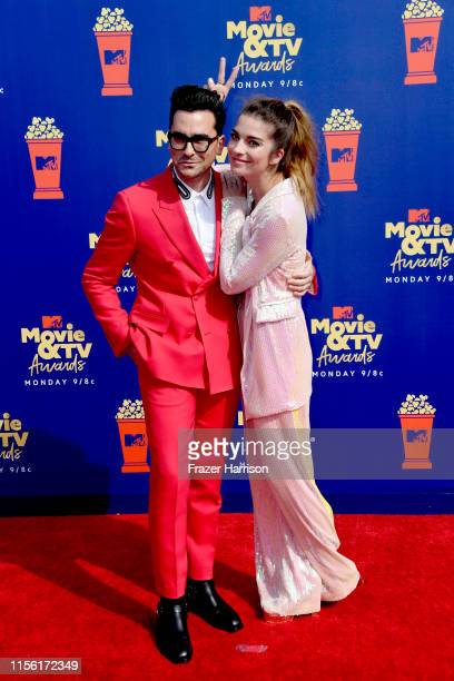 Daniel Levy and Annie Murphy attend the 2019 MTV Movie and TV Awards at Barker Hangar on June 15 2019 in Santa Monica California