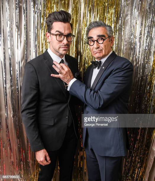Daniel Levy and Eugene Levy pose at the 2016 Canadian Screen Awards Portrait Studio at the Sony Centre for the Performing Arts on March 13 2016 in...