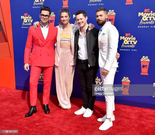 Daniel Levy Annie Murphy Noah Reid and Dustin Milligan attend the 2019 MTV Movie and TV Awards at Barker Hangar on June 15 2019 in Santa Monica...