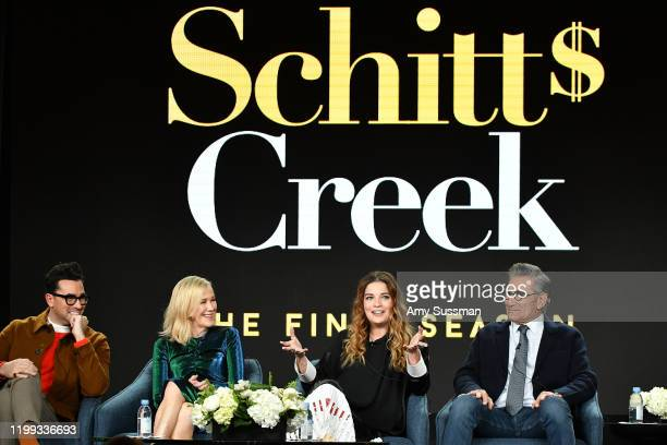 """Daniel Levy, Catherine O'Hara, Annie Murphy and Eugene Levy of """"Schitt's Creek"""" speak during the Pop TV segment of the 2020 Winter TCA Press Tour at..."""