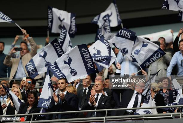 Daniel Levy chairman of Tottenham Hotspur looks on from the stands during the Premier League match between Tottenham Hotspur and Chelsea at Wembley...