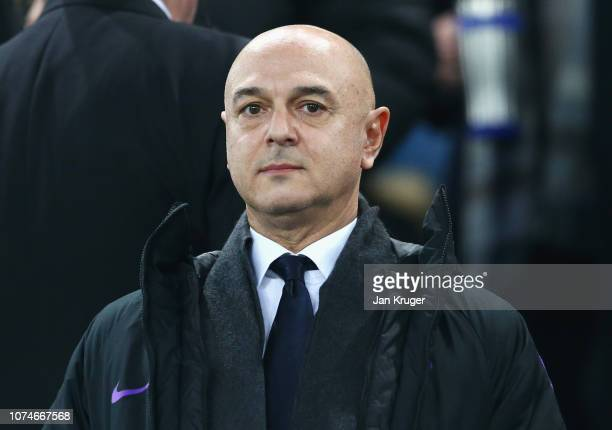Daniel Levy chairman of Tottenham Hotspur looks on prior to the Premier League match between Everton FC and Tottenham Hotspur at Goodison Park on...