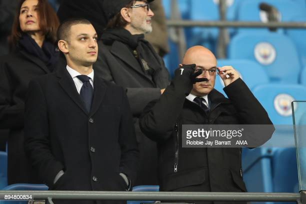 Daniel Levy chairman / owner of Tottenham Hotspur and his son Joshua Levy look on during the Premier League match between Manchester City and...