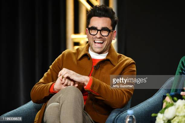"Daniel Levy of ""Schitt's Creek"" speaks during the Pop TV segment of the 2020 Winter TCA Press Tour at The Langham Huntington, Pasadena on January 13,..."