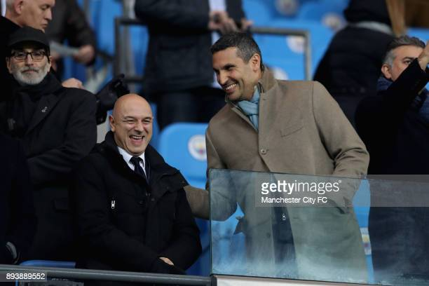 Daniel Levy Tottenham Hotspur chairman speaks to Manchester City chairman Khaldoon Al Mubarak prior to the Premier League match between Manchester...