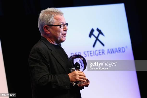 Daniel Libeskind speaks after winning the art award during the Steiger Award on at Coal Mine Hansemann Alte Kaue March 25 2017 in Dortmund Germany