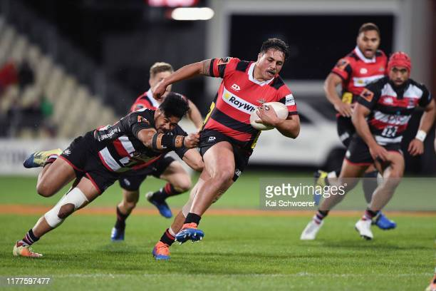 Daniel LienertBrown of Canterbury is tackled by Malgene Ilaua of Counties during the round 8 Mitre 10 Cup match between Canterbury and Counties...