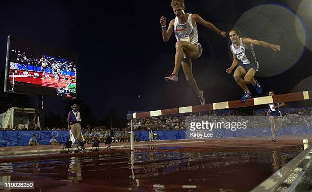 Daniel Lincoln leads Anthony Farmiglietti in the steeplechase at the U.S. Track and Field Olympic trials at California State University Sacramento,...