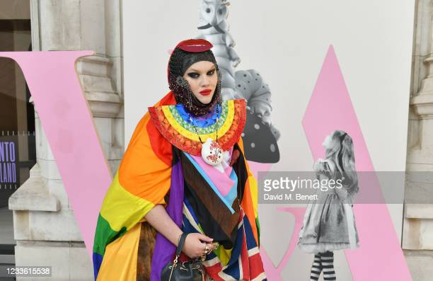 """Daniel Lismore attends a private view of """"Alice: Curiouser and Curiouser"""" at The V&A on June 23, 2021 in London, England."""