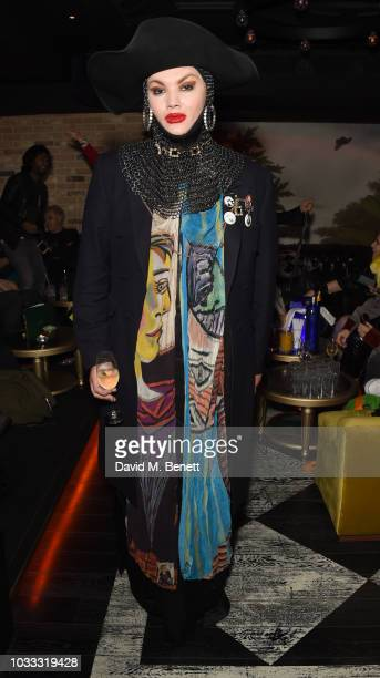 Daniel Lismore attends an after party celebrating the Pam Hogg catwalk show during London Fashion Week September 2018 at Kadie's on September 14 2018...