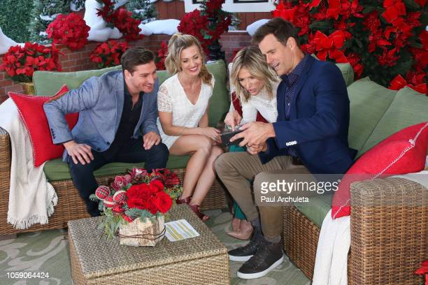 Daniel Lissing Brooke D'orsay Debbie Matenopoulos and Cameron Mathison on the set of Hallmark's Home Family at Universal Studios Hollywood on...