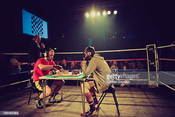 Daniel Lizarraga and Vladimir Makarov in the ring during the Chessboxing 2012 Season Finale at Scala on December 8 2012 in London England