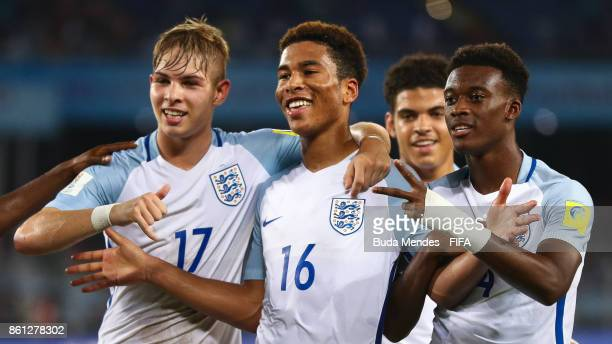 Daniel Loader of England celebrates a scored goal with his teammates during the FIFA U17 World Cup India 2017 group F match between England and Iraq...