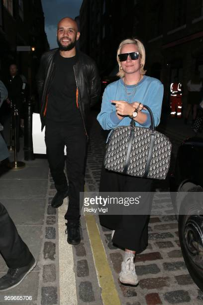 Daniel London and Lily Allen seen attending Planet Aries popup store party in Covent Garden on May 17 2018 in London England