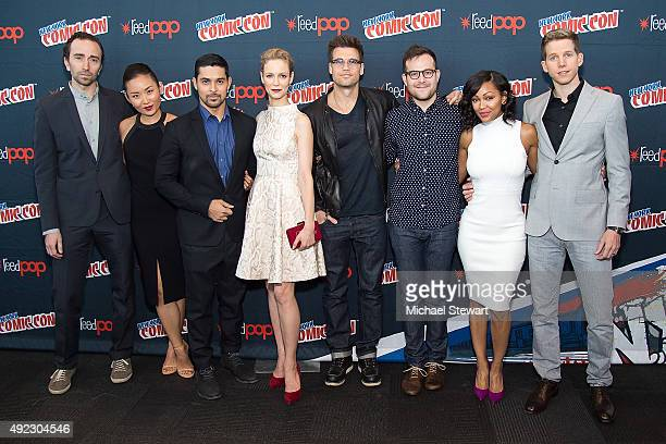 Daniel London Li Jun Li Wilmer Valderrama Laura Regan Nick Zano Max Borenstein Meagan Good and Stark Sands poses in the press room for the 'Minority...