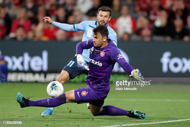Daniel Lopar of the Wanderers saves from Kosta Barbarouses of Sydney during the round three A-League match between the Western Sydney Wanderers and...
