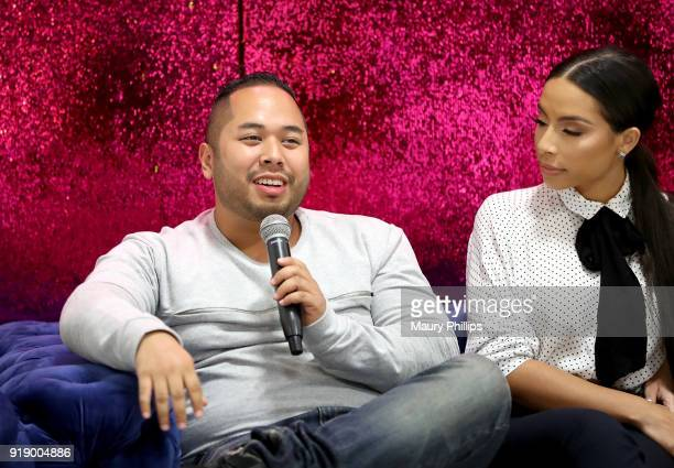 Daniel Lopez and Jessica Killings speak onstage during the 2018 Beauty The Beats Celebrity Party and Panel Discussion at Dream Magic Studios on...