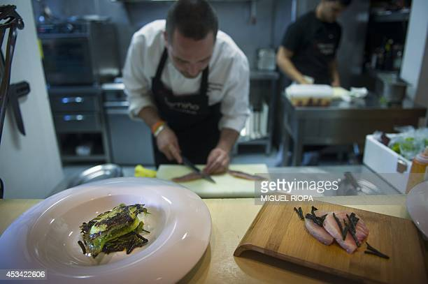 RUBIO Daniel Lopez chef at the O Camino do Ingles and customer of Ardora Sea Preserves prepares dishes with seaweed in Ferrol northern Spain on July...