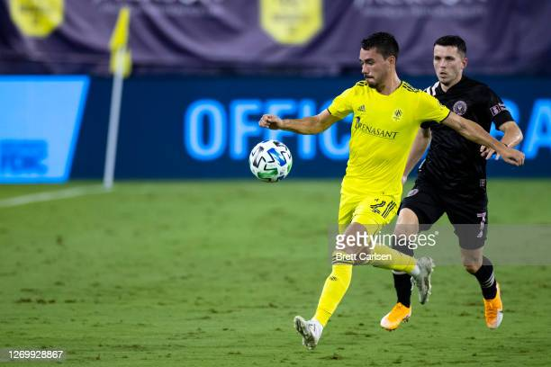 Daniel Lovitz of Nashville SC vies for the ball during the second half against the Inter Miami at Nissan Stadium on August 30, 2020 in Nashville,...