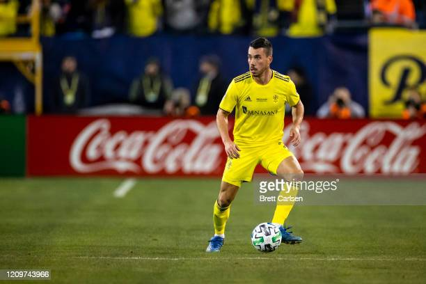 Daniel Lovitz of the Nashville SC controls the ball at midfield during the first half against the Atlanta United at Nissan Stadium on February 29,...