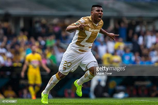 Daniel Ludueñ–a of Pumas celebrates after scoring during a match between America and Pumas UNAM as part of the Clausura 2014 Liga MX at Azteca...