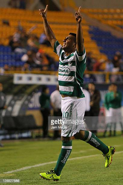 Daniel Luduena of Santos celebrates a scored goal against San Luis during a match as part of the Apertura 2011 at Alfonso Lastras Stadium on...