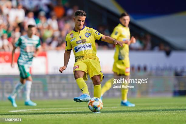 Daniel Luxbacher of St.Poelten during the tipico Bundesliga match between Spusu SKN St. Poelten and SK Rapid Wien at NV Arena on August 4, 2019 in...