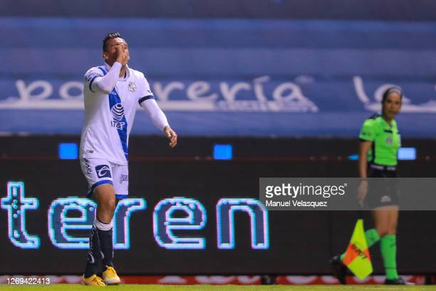 Daniel Álvarez of Puebla celebrates after scoring the second goal of his team during the 7th round match between Puebla and Toluca as part of the...