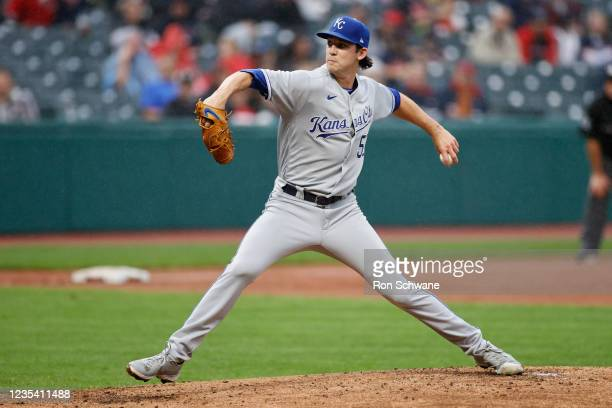 Daniel Lynch of the Kansas City Royals pitches against the Cleveland Indians during the first inning at Progressive Field on September 21, 2021 in...