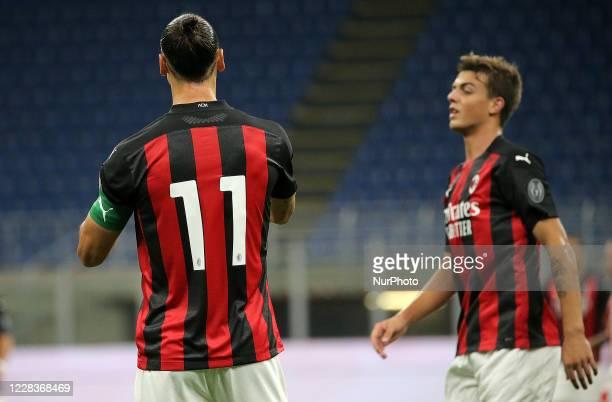 Daniel Maldini of AC Milan and Zlatan Ibrahimovic of AC Milan during the pre-season friendly match between AC Milan and Monza at Stadio Giuseppe...