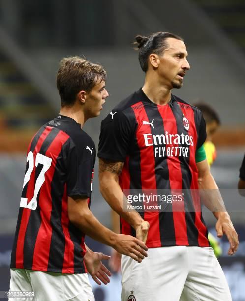 Daniel Maldini of AC Milan celebrates his goal with his team-mate Zlatan Ibrahimovic during the pre-season friendly match between AC Milan and Monza...