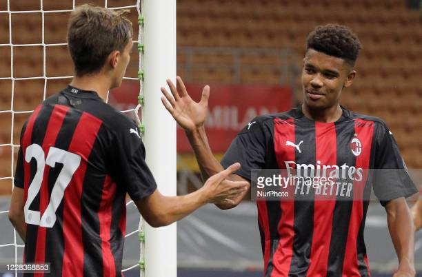 Daniel Maldini of AC Milan celebrates with Emil Roback of AC Milan after scoring the goal during the pre-season friendly match between AC Milan and...