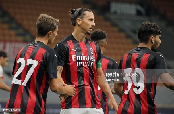 Daniel Maldini of AC Milan celebrates with Zlatan Ibrahimovic of AC Milan after scoring the goal during the pre-season friendly match between AC...