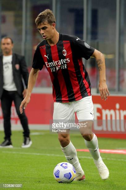 Daniel Maldini of AC Milan in action during the pre-season friendly match between AC Milan and AC Monza at Stadio Giuseppe Meazza on September 5,...