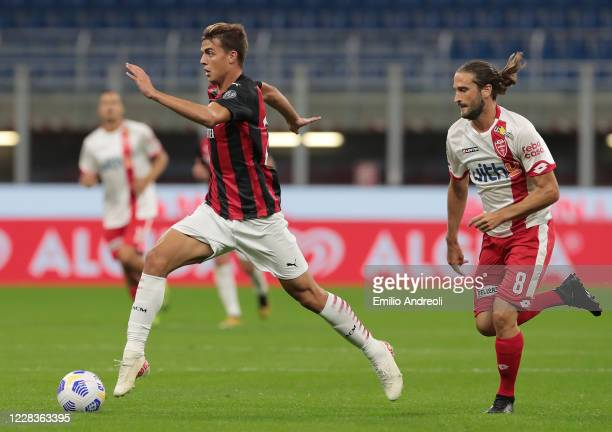Daniel Maldini of AC Milan in action during the pre-season friendly match between AC Milan and Monza at Stadio Giuseppe Meazza on September 5, 2020...