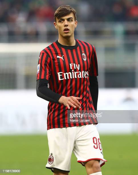 Daniel Maldini of AC Milan looks on during the Serie A match between AC Milan and Hellas Verona at Stadio Giuseppe Meazza on February 2 2020 in Milan...