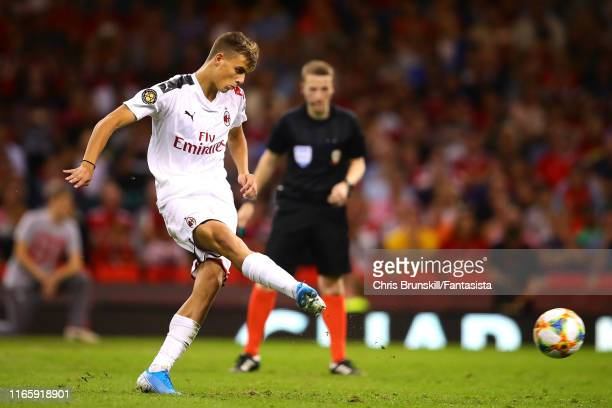 Daniel Maldini of AC Milan misses in the penalty shootout following the 2019 International Champions Cup match between Manchester United and AC Milan...