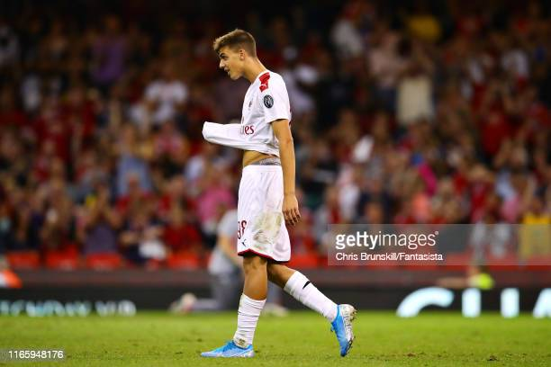 Daniel Maldini of AC Milan reacts in the penalty shootout during the 2019 International Champions Cup match between Manchester United and AC Milan at...