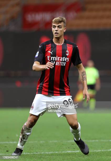 Daniel Maldini of AC Milan Son of former AC Milan player Paolo Maldini on action ,during the Serie A match between AC Milan and Cagliari Calcio at...