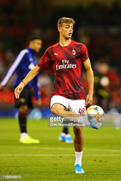 Daniel Maldini of AC Milan warms up before the 2019 International Champions Cup match between Manchester United and AC Milan at Principality Stadium...