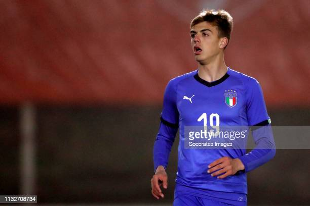 Daniel Maldini of Italy U18 during the match between Holland U18 v Italy U18 at the Sportpark Nieuw Zuid on March 22 2019 in Katwijk Netherlands