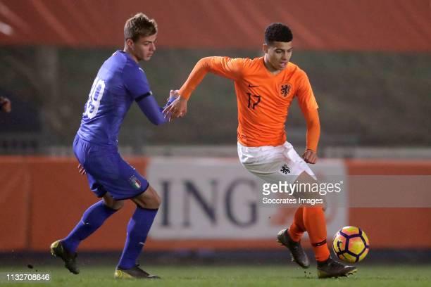 Daniel Maldini of Italy U18 Elayis Tavsan of Holland U18 during the match between Holland U18 v Italy U18 at the Sportpark Nieuw Zuid on March 22...