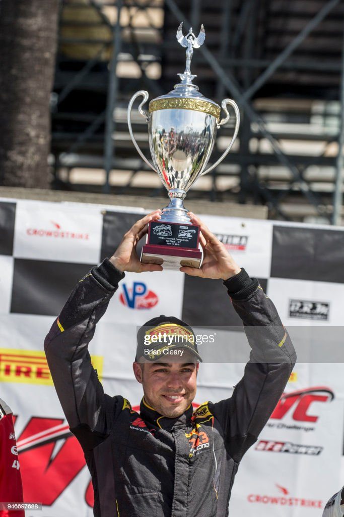 Daniel Mancinelli, of Italy, celebrates in victory lane after winning the Pirelli Woeld Challenge GT race at the Toyota Grand Prix of Long Beach on April 15, 2018 in Long Beach, California.