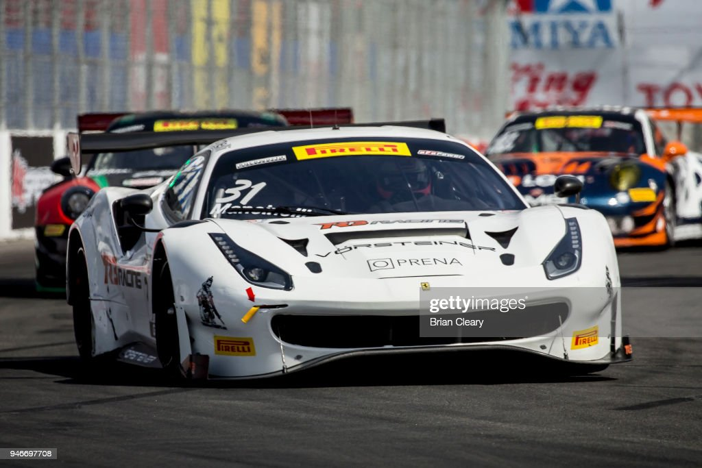 Daniel Mancinelli, of Italy, drives the #31 Ferrari to victory in the Pirelli World Challenge GT race at the Toyota Grand Prix of Long Beach on April 15, 2018 in Long Beach, California.