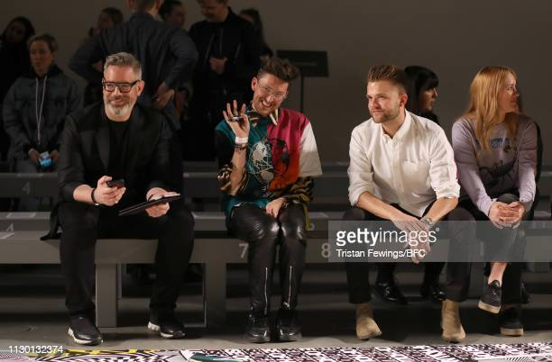 Daniel Marks and Henry Holland watch the rehearsal ahead of the House of Holland show during London Fashion Week February 2019 at the University of...