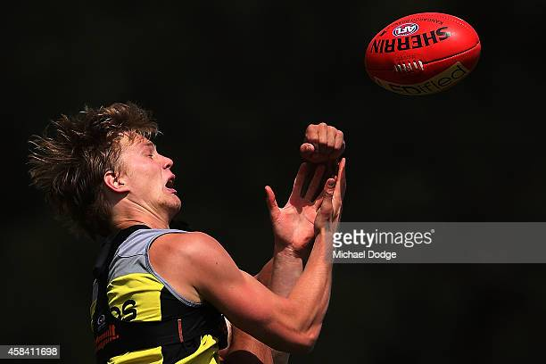 Daniel Markworth competes for the ball during a StKilda Saints AFL training session at Linen House Oval on November 5 2014 in Melbourne Australia