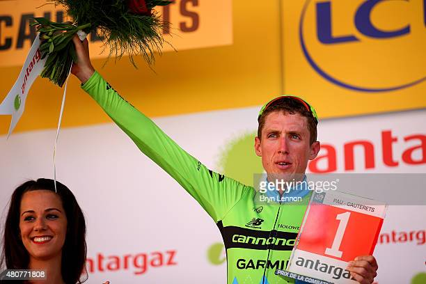 Daniel Martin of Ireland and Team Cannondale-Garmin receives the award for the most combative rider after stage eleven of the 2015 Tour de France, a...